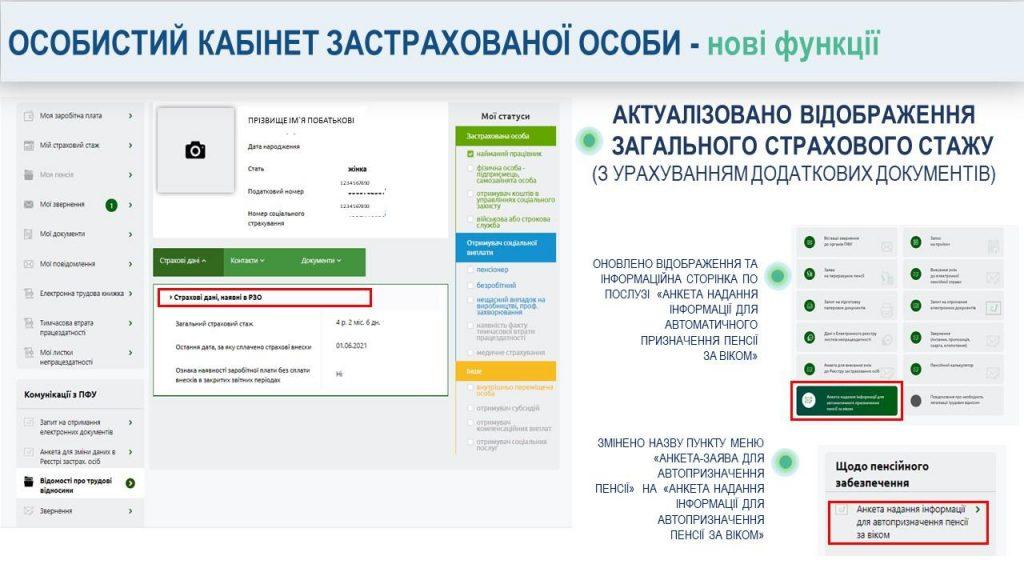 Slajd2 20210909 zminy webportal zastrahovani osoby 1024x576 - Кабінет застрахованої особистості на веб -порталах Пенсійного фонду України - нові функції