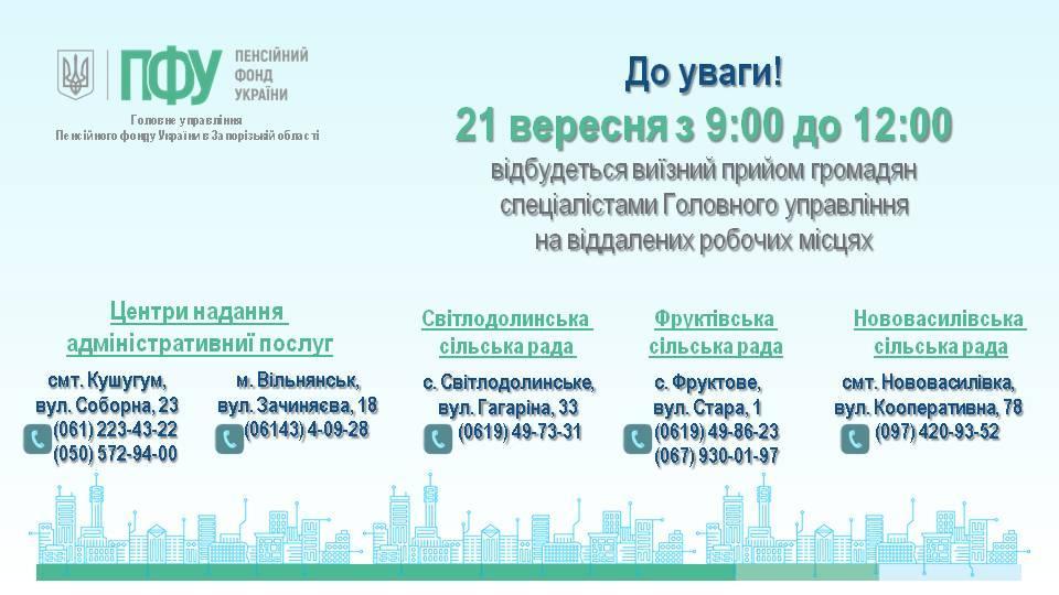 Vyyizni pryjomy 21 - Виїзний прийом громадян спеціалістами Головного управління на віддалених робочих місцях 21.09.2021