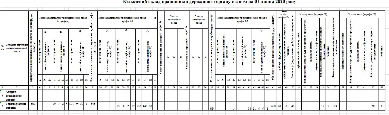 kilkisnyj sklad - Звіт про кількісний склад державних службовців станом на 01.07.2020 року