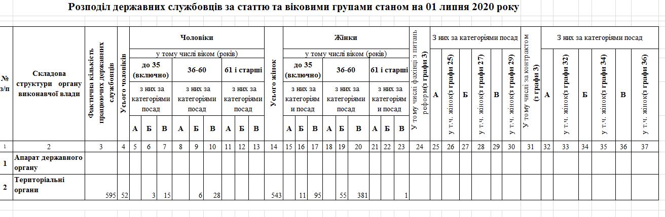 rozpodil derzh.sluzhbovtsiv - Звіт про кількісний склад державних службовців станом на 01.07.2020 року